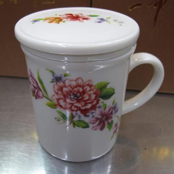 手繪 彩色牡丹 白瓷小茶杯 三件組 全祥茶莊 OB13
