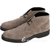 HOGAN 麂皮雕花綁帶短筒牛津鞋(灰褐色 / 男款) 1510558-63