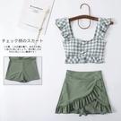 抹茶綠日系超仙少女分體泳衣復古格子裙式花邊學生溫泉顯瘦感泳裝快速出貨