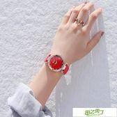 新品潮牌時尚防水鉆星空手錶女磨砂皮帶石英網紅女錶抖音同款  快速出貨