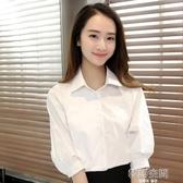 寬鬆工作服襯衫2020新款職業短袖白色女裝襯衣七分中袖春季韓版夏 韓語空間