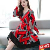 V領線配紅塊花苞袖洋裝 M~4XL【212797W】【現+預】☆流行前線☆
