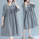 中大尺碼洋裝 2021夏季新款加大胖妹妹寬鬆大碼洋氣時尚韓版棉麻大碼格子連身裙