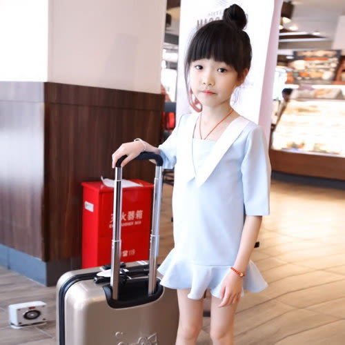 *╮小衣衫S13╭*學院風水藍色波浪裙襬洋裝  1050427