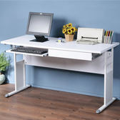 Homelike 巧思辦公桌-加厚桌面140cm(鍵盤抽屜)桌面:胡桃/桌腳:白/飾