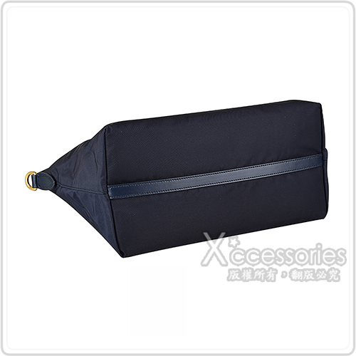 PRADA 金屬LOGO尼龍牛皮飾邊拉鍊手提斜背包(午夜藍)