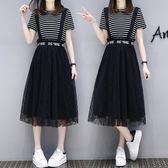 (工廠直銷不退換)2205#夏裝新款大碼女裝胖mm顯瘦加肥加大蕾絲連身裙兩件套F-4F088韓依戀