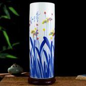 景德鎮陶瓷手繪書畫筒卷軸缸箭筒花瓶中式客廳書房落地裝 歐亞時尚