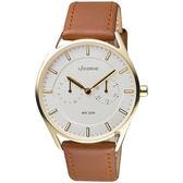 LICORNE 文青時尚日曆手錶-銀x金框x咖啡錶帶/40mm LT128MKWD1