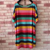 胖mm200斤大碼體恤寬鬆薄款T恤女中長款顯瘦彩虹條紋鏤空短袖女裝【PINKQ】