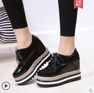 厚底鞋 內增高鬆糕鞋單鞋坡跟高跟2019春季黑色小皮鞋子