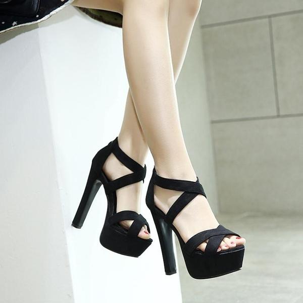 高跟鞋歐美款T臺高跟女鞋14cm超高粗跟夏季涼鞋 模特走秀舞臺演出鞋交換禮物