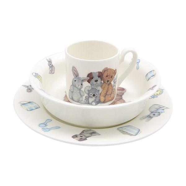英國Roy Kirkham泰迪寶寶三件餐具禮盒組(共兩色可選)