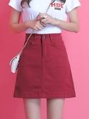 酒紅色裙子2020年新款半身裙女夏a字裙短裙夏季牛仔高腰顯瘦裙子