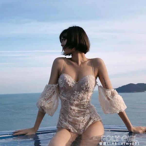 Swimming復古泳衣 ins風網紅同款性感蕾絲三角連身泳衣女小胸聚攏 夏季新品