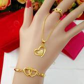 仿金假黃金項鍊女歐幣18k鍍金愛心吊墜項鍊套裝 久不掉色沙金飾品 聖誕節交換禮物