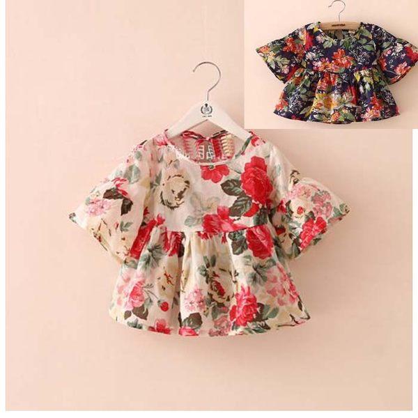 上衣 高貴秀氣風荷葉袖花朵洋裝上衣 寶貝童衣