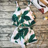 分體泳衣女小清新樹葉顯瘦性感遮肉平角褲學生保守小胸聚攏泳裝    韓小姐