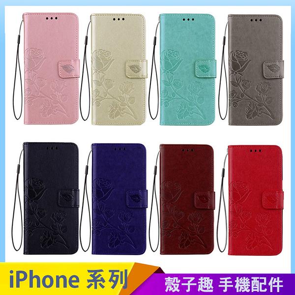 壓紋玫瑰花皮套 iPhone SE2 XS Max XR i7 i8 i6 i6s plus 手機殼 商務插卡 磁吸翻蓋 影片支架 保護殼套