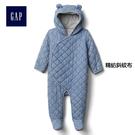 Gap嬰兒 絎縫青年布熊耳兜帽包屁衣 627197精紡斜紋布