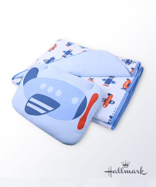 Hallmark Babies飛行夢男嬰純棉加厚夾棉被枕頭HG3-N01-L1-LB-MB