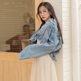 MUMU【C12939】大落肩寬袖刷色牛仔短外套