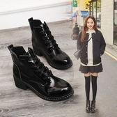 馬丁靴女秋季日韓百搭時尚粗跟英倫小皮鞋短筒短靴女靴子 巴黎時尚