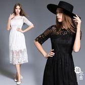 禮服 - 潮款白色蕾絲修身顯瘦沙灘長裙【韓衣舍】