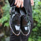 真皮皮鞋-鉚釘繫帶個性龐克純色油面男休閒鞋73kv21[巴黎精品]