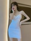 洋裝 褶皺緊身吊帶連衣裙女2021春季新款修身顯瘦包臀裙子女裝【618特惠】