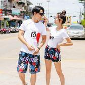 沙灘褲男寬鬆印花海邊大碼海灘情侶溫泉游泳短褲速干2019新款時尚