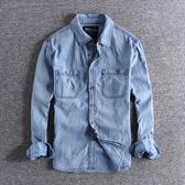 長袖襯衫 簡約工裝口袋水洗做舊美式復古休閑襯衣百搭男士長袖襯衫