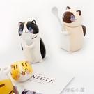 创意可爱卡通猫咪动物手绘陶瓷杯牛奶咖啡杯礼品陶瓷带盖马克杯『櫻花小屋』