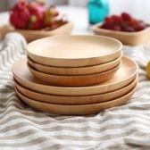 日式橡膠木實木盤子 zakka水果盤干果早餐零食碟子圓盤餐具 挪威森林