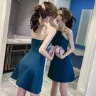 新款韓版夜店女裝性感掛脖露背顯瘦露肩無袖a字洋裝女 黛尼時尚精品