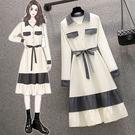 大碼長袖洋裝 禮服 連身裙L-4XL18359胖mm時尚拼結收腰減齡長袖翻領連身裙4F093 胖妞衣櫥