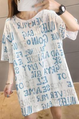 中長款短袖T恤夏裝 新款韓版字母印花寬松中長款ins大碼上衣短袖T恤女R028 韓依紡