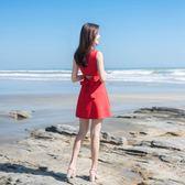 短袖洋裝 小紅裙中長款女修身正韓收腰顯瘦禮服