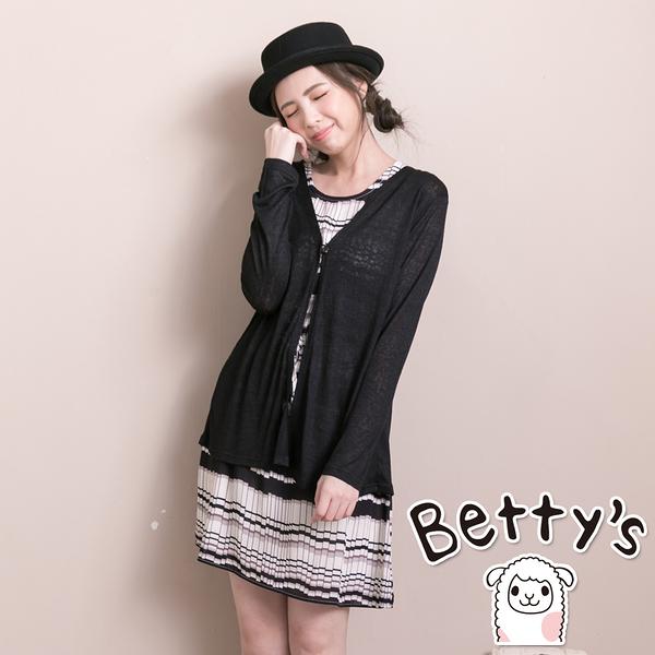 betty's貝蒂思 幾何圖形外罩針織衫兩件式洋裝(黑色)