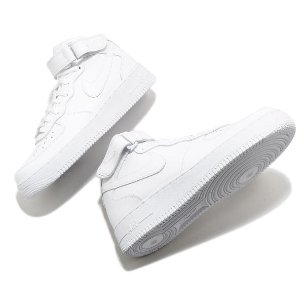 Nike 休閒鞋 Air Force 1 Mid 07 全白 中筒 經典款 男鞋 魔鬼氈【ACS】 CW2289-111