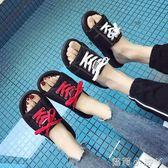 一字拖拖鞋新款女夏季時尚外穿情侶涼拖韓版原宿風一字拖平底沙灘鞋 蘿莉小腳丫