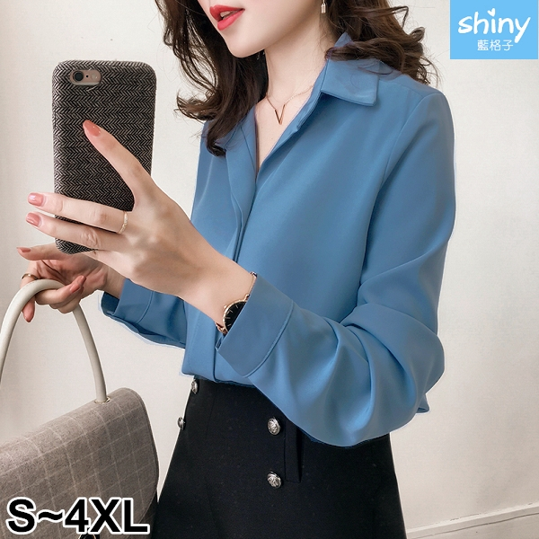 【V2710-1】shiny藍格子-瑕疵特賣‧純色小V領寬鬆顯瘦長袖上衣