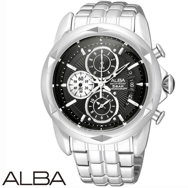 ALBA 潮流切割造型計時碼表三眼鋼帶男錶 42mm黑 AF8P11X YM92-X189D   名人鐘錶高雄門市