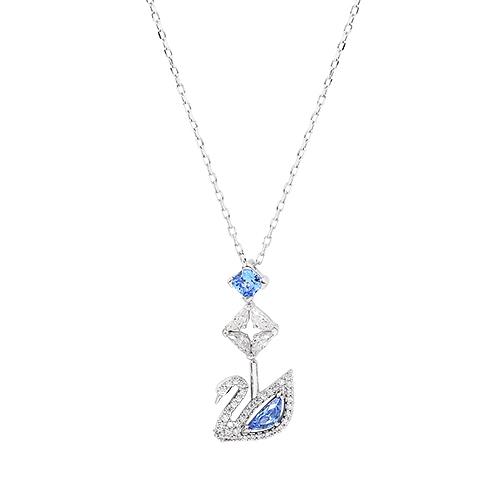 SWAROVSKI 施華洛世奇 125週年系列Dazzling Swan藍色水晶天鵝Y型玫瑰金項鍊 5530625