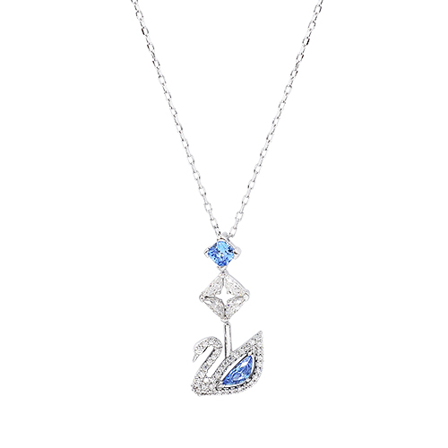 SWAROVSKI 施華洛世奇 125週年系列Dazzling Swan藍色水晶天鵝Y型銀色項鍊 5530625