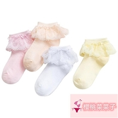 5雙 女童兒童襪花邊蕾絲公主襪配皮鞋網眼薄款表演拉丁舞蹈襪純棉【櫻桃菜菜子】