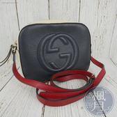 BRAND楓月 GUCCI 431567 SOHO 黑紅白配色 經典 GG壓紋 小方包 相機包 側背包 肩背包