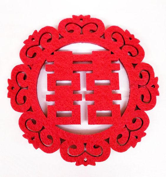 雕花紅色雙喜杯墊 送客禮 婚禮小物【皇家結婚用品】