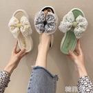 厚底拖鞋 夏新款厚底鬆糕跟韓版一字拖外穿女涼拖蝴蝶結女拖鞋蕾絲女鞋 韓菲兒