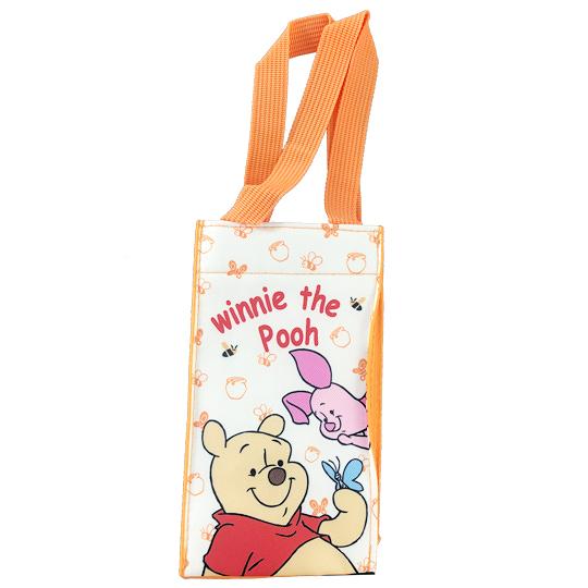 小禮堂 迪士尼 小熊維尼 方形尼龍保冷水壺袋 環保杯袋 飲料杯袋 (黃 蝴蝶) 4713549-02021